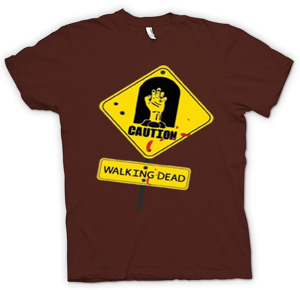 Mens T-shirt - Caution - Walking Dead Zombie Warning Sign