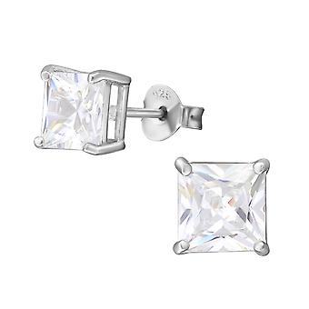 Square - 925 Sterling Silver Classic Ear Studs - W8272X