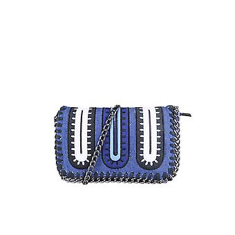 Lovemystyle Chain Trimmed Blue, White And Black Cross Body Bag