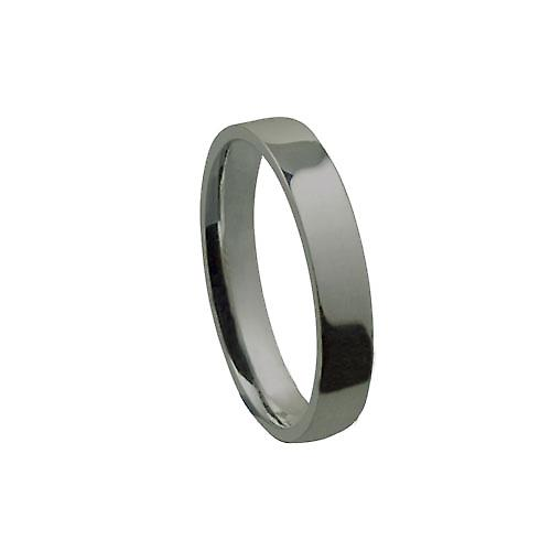Platinum 4mm plain flat Court shaped Wedding Ring Size Z