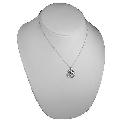 Silver 22x20mm Horse Head in Horseshoe Pendant with a rolo Chain 18 inches