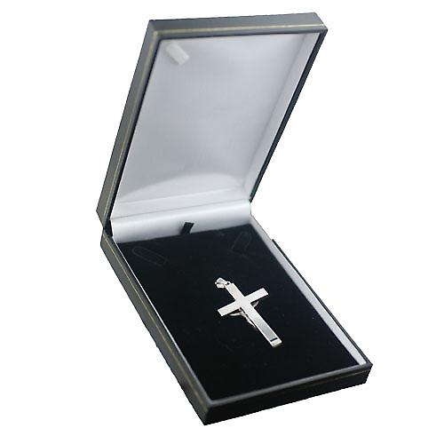 Silver 55x33mm solid block Crucifix Cross with bail