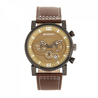 Breed Ryker Chronograph Leather-Band Watch w/Date - Brown/Camel