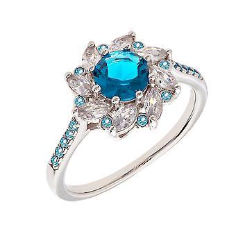 Bertha Juliet Collection Women's 18k WG Plated Blue Flower Fashion Ring Size 5