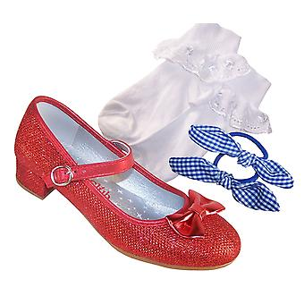 Girls red sparkly ballerina dressing up shoes, socks and hair accessory set