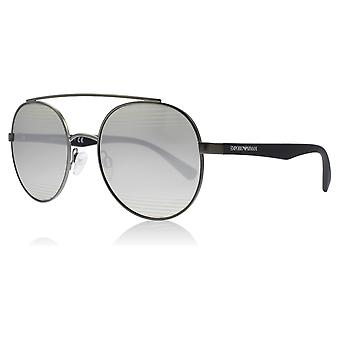 Emporio Armani EA2051 30106G Matte Gunmetal EA2051 Round Sunglasses Lens Category 3 Lens Mirrored Size 53mm