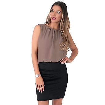 KRISP  Womens Oversized Chiffon Sleeveless Top Bodycon Skirt Contrast Mini Dress Party