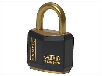 ABUS T84MB/20 20mm Black Rustproof Padlock Carded