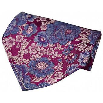 Posh i Elegant kwiatowy jedwabna chusteczka - intensywny różowy, niebieski, fioletowy