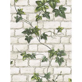 Ivy Ziegel Wirkung Tapete Stein Schiefer strukturierte geprägte weiß grün Modern