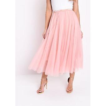 Gold Detail Tulle Mesh Midi Skirt Pink