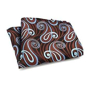 Brown & light blue turquoise swirl dinner pocket square