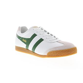 Gola Harrier Leather  Mens White Retro Lace Up Low Top Sneakers Shoes