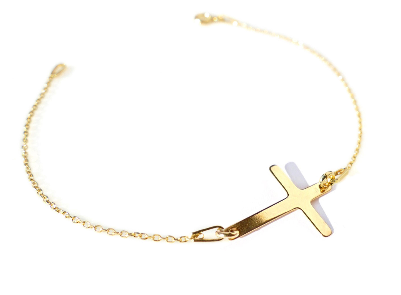 Ah  Bijoux 24K or Vermeil Over Sterling argent Cross Bracelet, Stamped 925