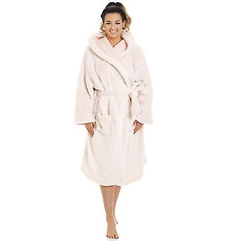 Camille Womens Ladies Soft Fleece Pink Long Sleeve Hooded Dressing Gown