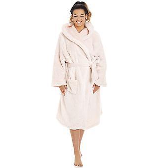 Camille Womens Damen weiche Fleece rosa Langarm Kapuzen Kleid