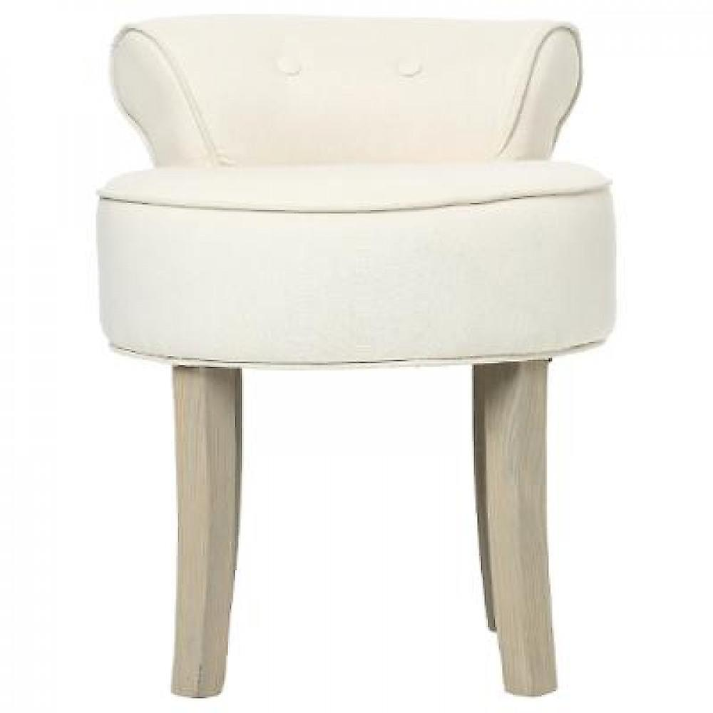 Stool with handrail-linen/wood