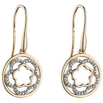 Elements Gold Flower Circle Earrings - Gold/Silver