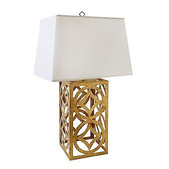 Verguld Nola verguld Nola Lee Distressed goud stalen frame tafel lamp met schaduw