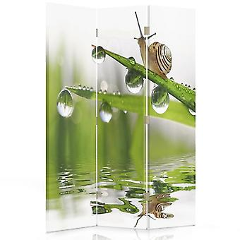 Room Divider, 3 Panels, Single-Sided, Canvas, Snail On Grass