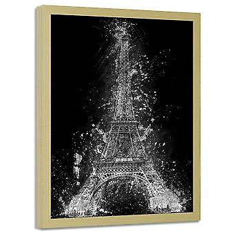 Picture In Natural Frame, Eiffel Tower At Night