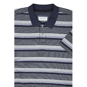 BadRhino Navy & Grey Marl Stripe Polo Shirt