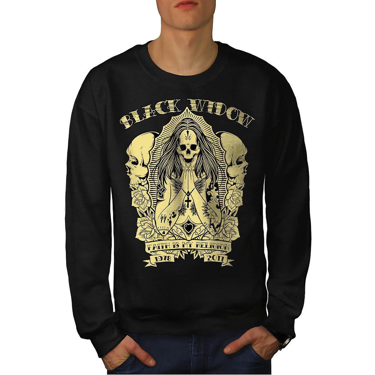 Black Widow Skull Death Faith Men Black Sweatshirt | Wellcoda