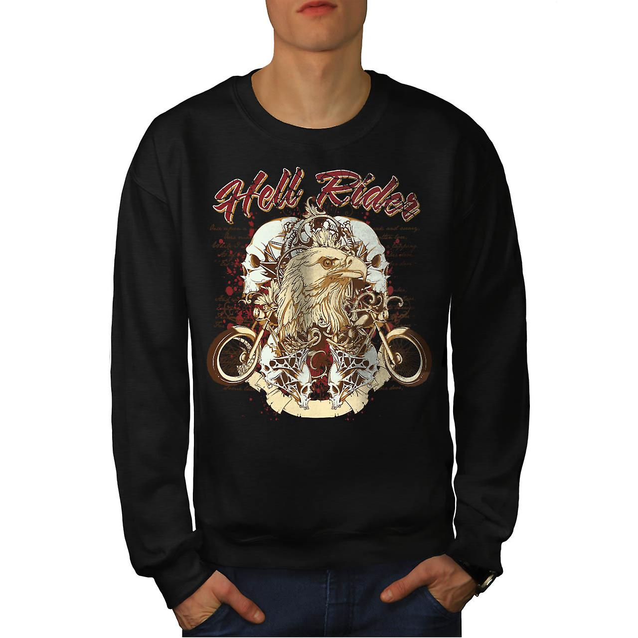 Hell Rider Biker Life Eagle Bike Men Black Sweatshirt | Wellcoda