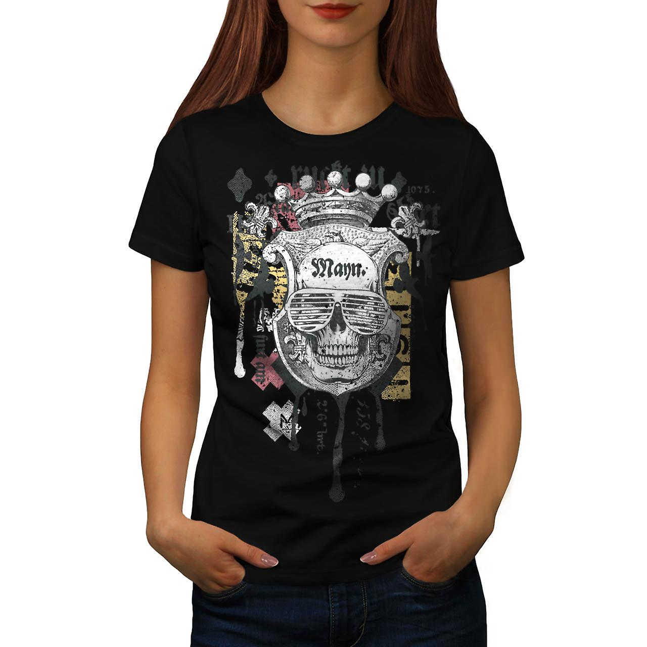 Man Royal Skull Team Swag Head Women Black T-shirt | Wellcoda