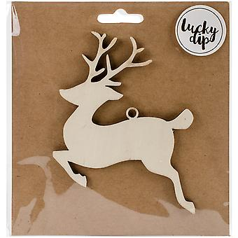 Lucky Dip Wood Flourish-Reindeer 4.75