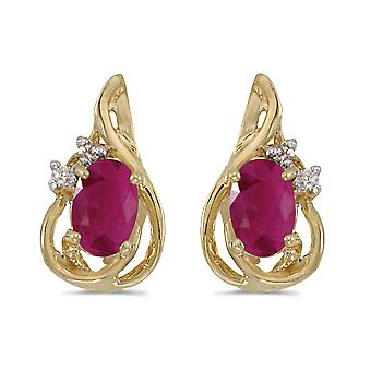 14k Yellow Gold Oval Ruby And Diamond Teardrop Earrings