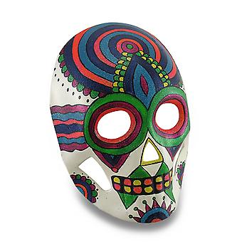 Colorful Sparkling Rainbow Striped DOD Sugar Skull Style Mask