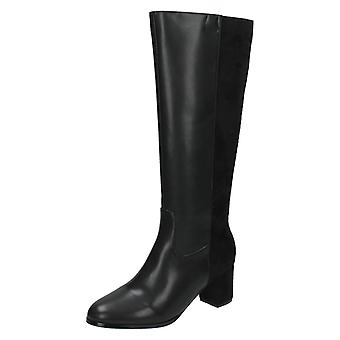 Ladies Spot On Knee High Heeled Boot F50366