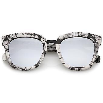 Marble Printed Metal Nose Bridge Trim Wide Temples Mirrored Flat Lens Horn Rimmed Sunglasses 50mm