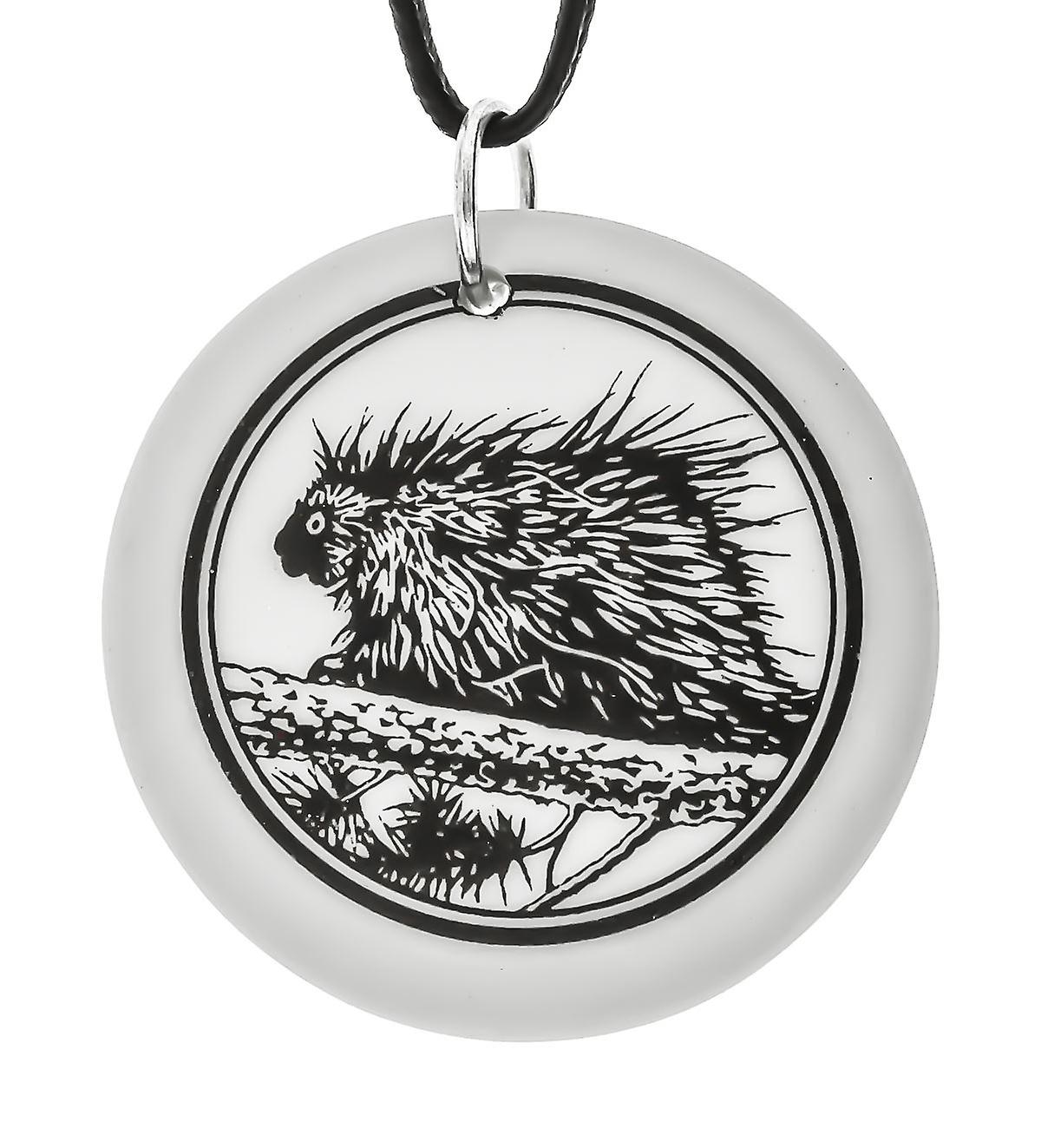 Handmade North American Porcupine Totem Round Shaped Porcelain Pendant