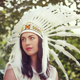 Boutique Camping Native American Indian War Headdress -  Coloured Band And White