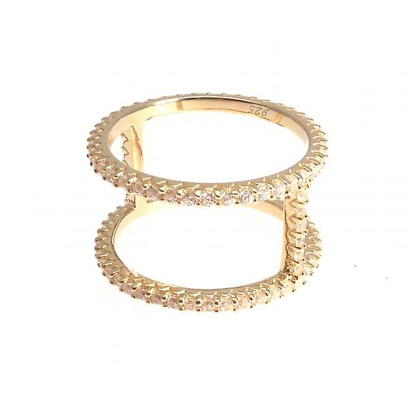 W.A.T Gold Plated 925 Sterling Silver Double Row Crystal Finger Ring
