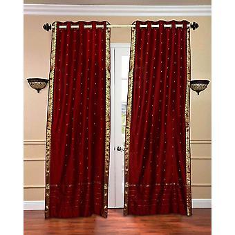 Ring oben schiere Sari Vorhangs Maroon / drapieren / Panel - Stück
