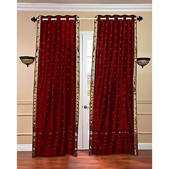 Maroon anillo superior Sari pura cortina / cortina / Panel - pieza
