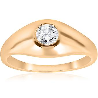 1 / 2CT Mens diamant Solitaire Ring 14K gult gull