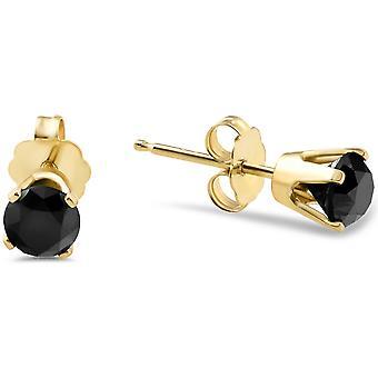 Amarillo oro ct de 7/8 redondo herretes de diamantes negro corte