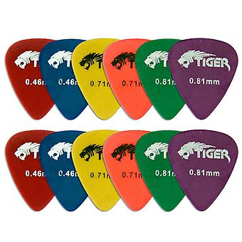 Tiger Pack of 12 Matte Guitar Picks