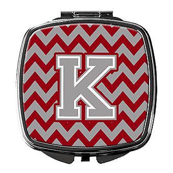 Letter K Chevron Crimson and Grey   Compact Mirror