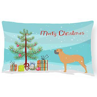 Bullmastiff Merry Christmas Tree Canvas tyg dekorationskudde
