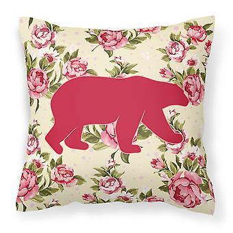 Bear Shabby Chic Yellow Roses   Fabric Decorative Pillow