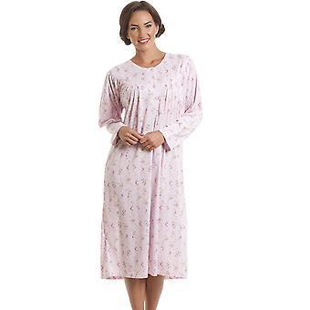 Camille Classic Long Sleeve Pink Floral Print Nightdress