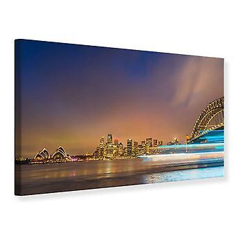 Canvas Print Skyline Opera House In Sydney In Evening Light