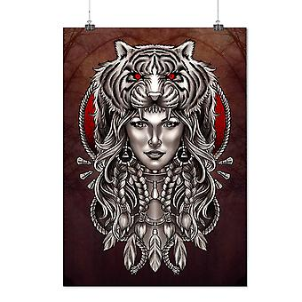 Matte or Glossy Poster with Girl Tiger Head Fantasy | Wellcoda | *d2874