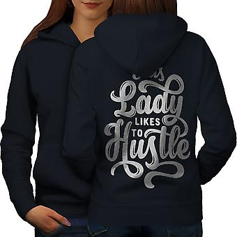 Lady Likes To Hustle Women NavyHoodie Back | Wellcoda