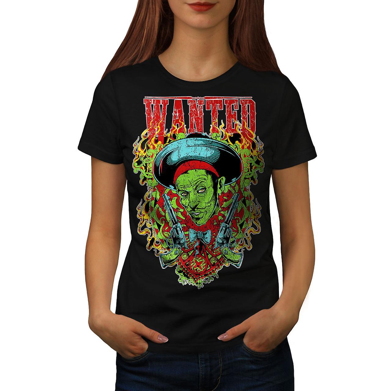 Sombrero Zombie Gangster Women Black T-shirt | Wellcoda